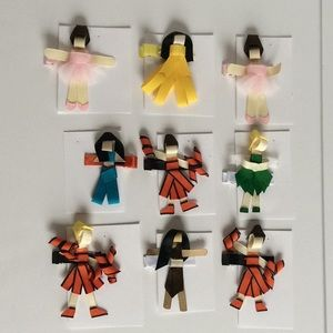 9 People Figure Brats Used for Barrettes Clips